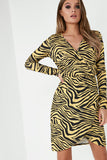Tiara Yellow Animal Print Wrap Dress