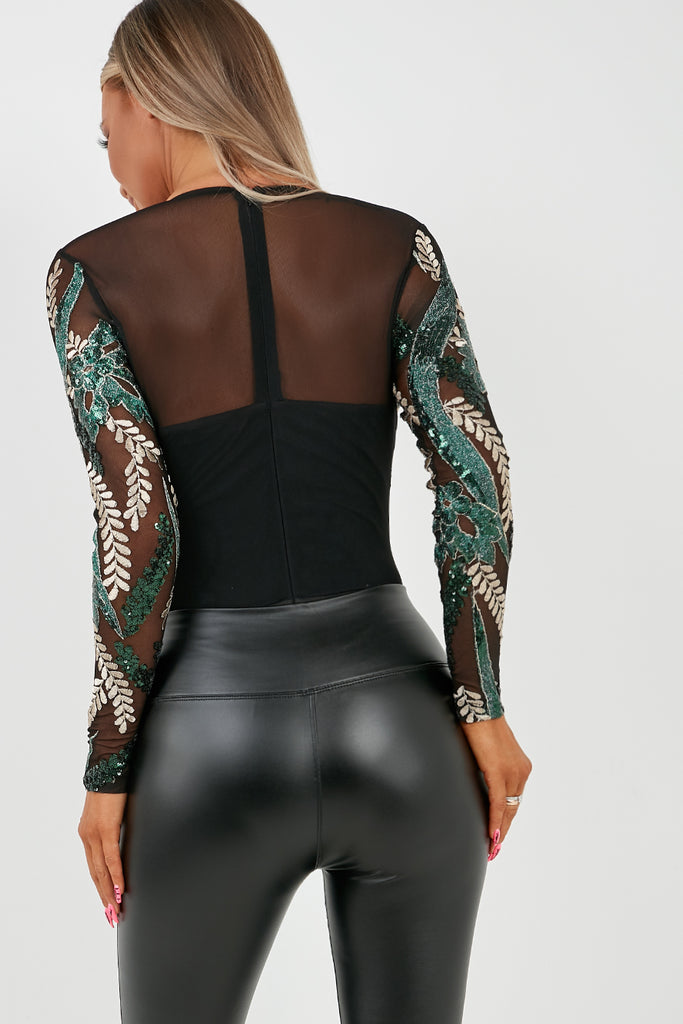 Tiffany Black and Green Sequin Leaf Bodysuit