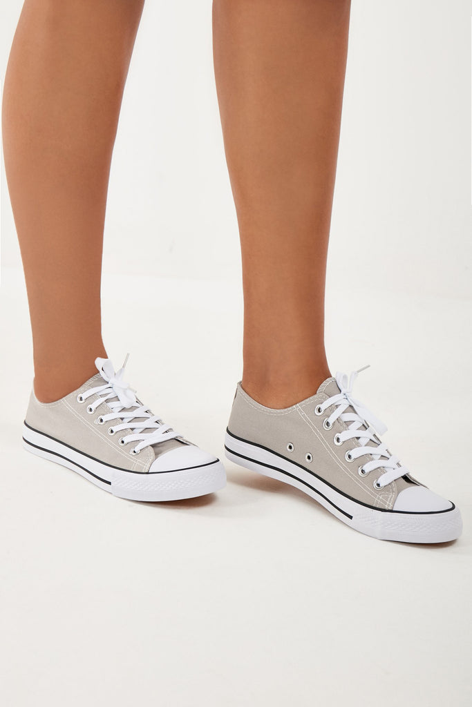 Tiffany Grey Lace Up Canvas Trainers