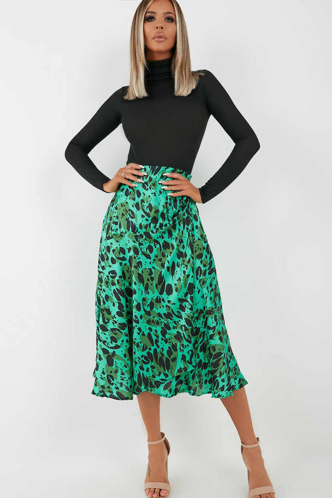 Tilda Green Satin Animal Print Midi Skirt (4343316643906)