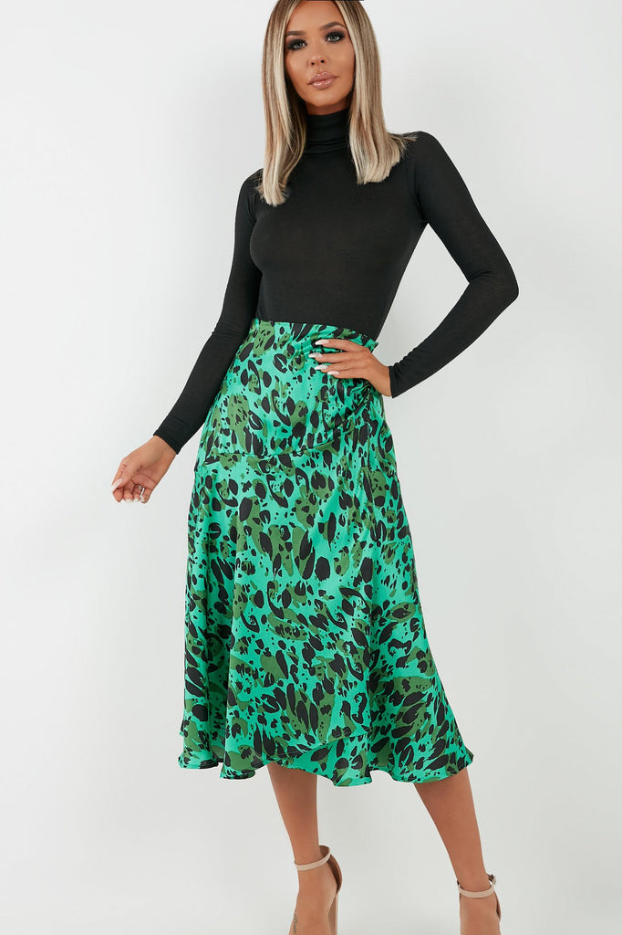 Tilda Green Satin Animal Print Midi Skirt