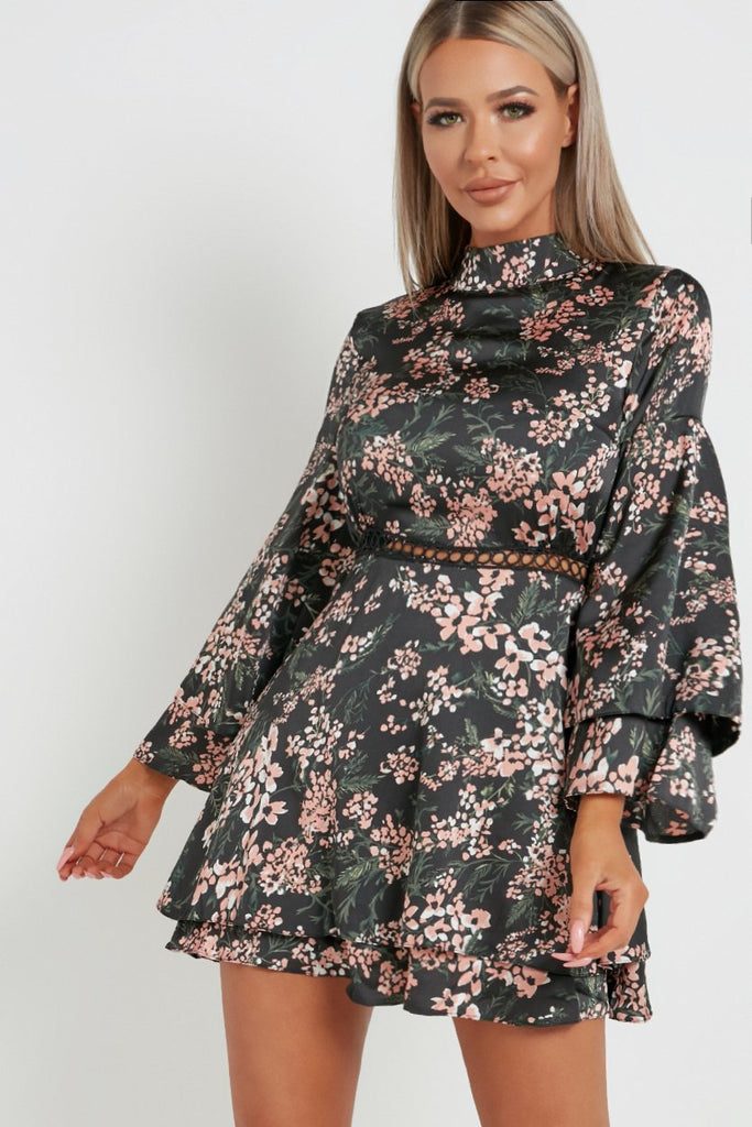 Tillie Black Floral Frill Skirt Dress