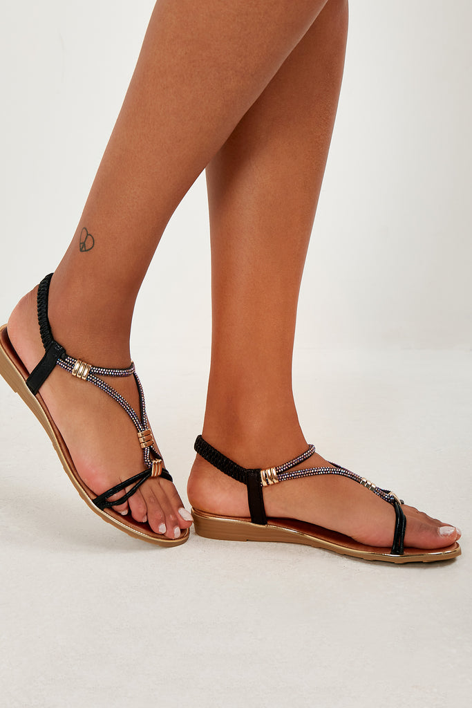 Tilly Black Diamante Sandals