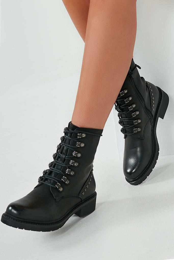 Tilly Black Eyelet Lace Up Biker Boots