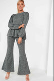 Tina Grey Peplum Flared Leg Co Ord