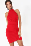 Tina Red Textured Ruched Dress