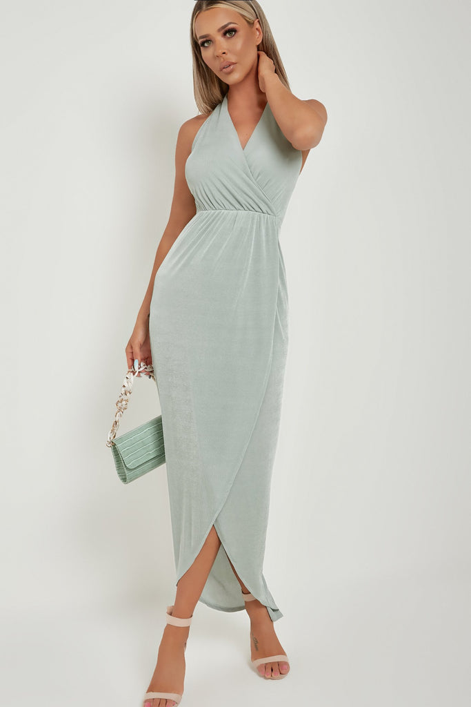 Tina Sage Halterneck Maxi Dress