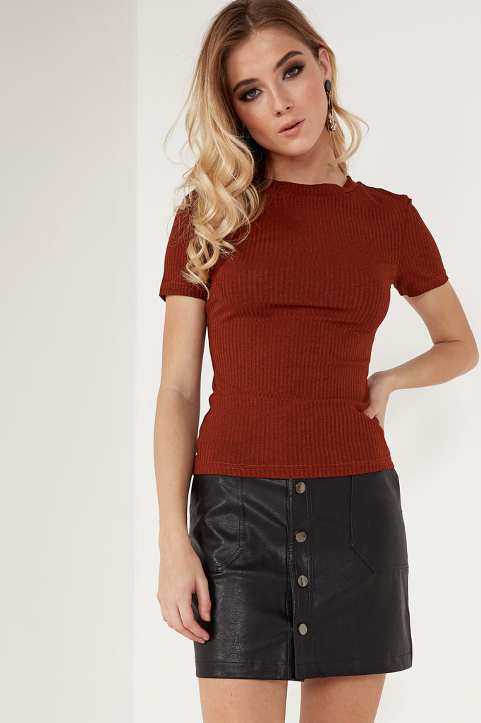 Tisha Rust Ribbed T Shirt