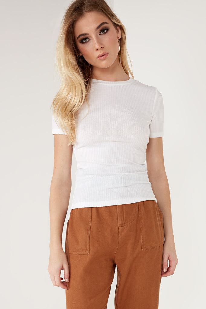 Tisha White Ribbed T Shirt