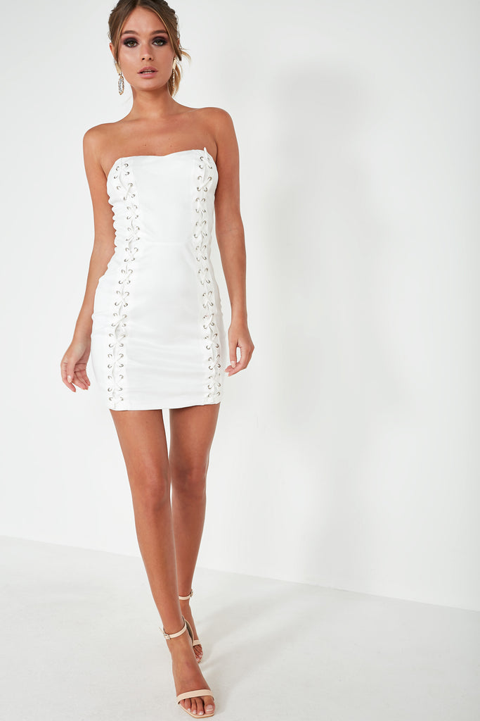Tommy White Lace Up Mini Dress
