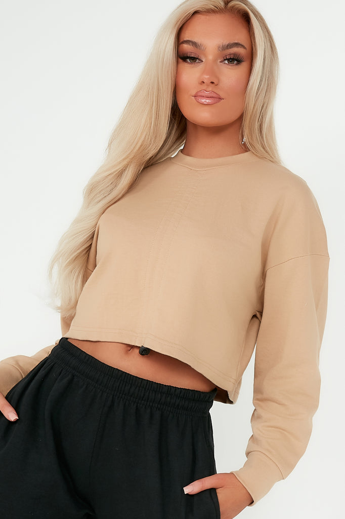 Tyra Camel Ruched Front Crop Sweatshirt