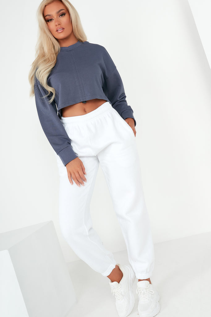 Tyra Navy Ruched Front Crop Sweatshirt