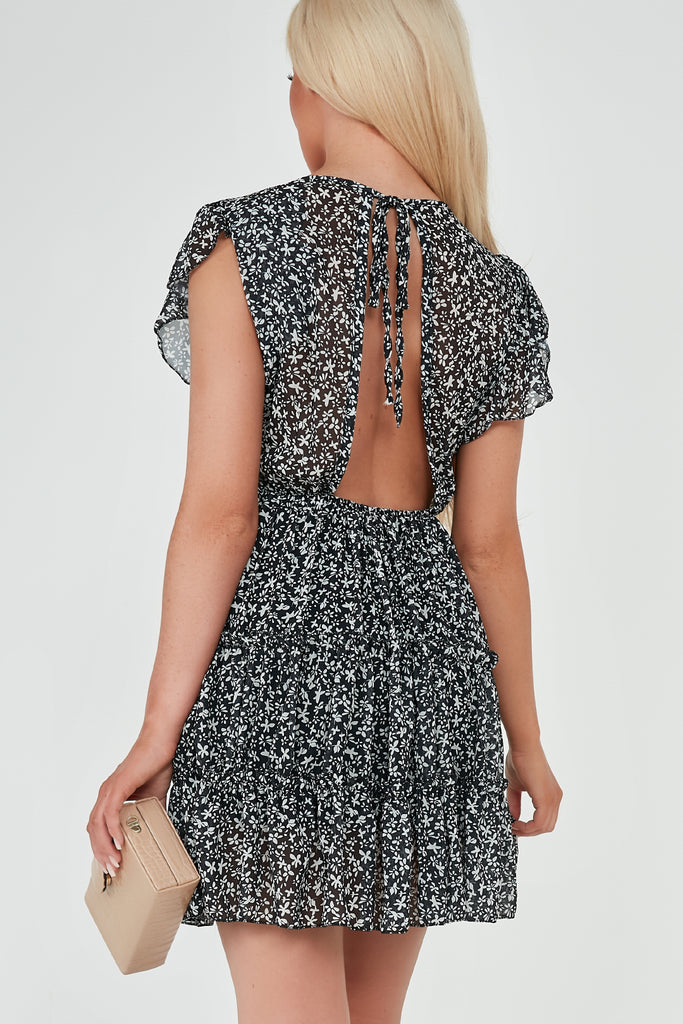 Tonia Black Ditsy Print Open Back Frill Dress