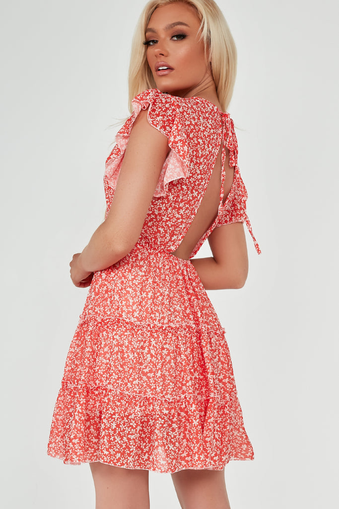 Tonia Coral Ditsy Print Open Back Frill Dress