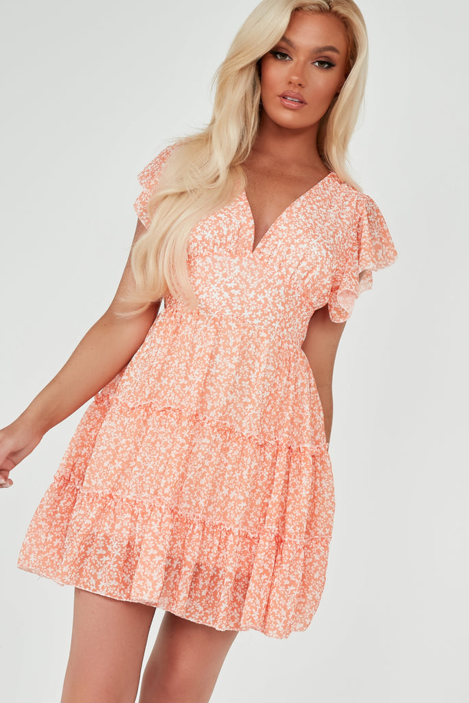 Tonia Orange Ditsy Print Open Back Frill Dress