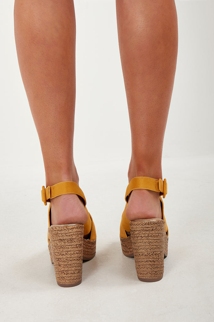 Tora Yellow Cork Heel Sandals