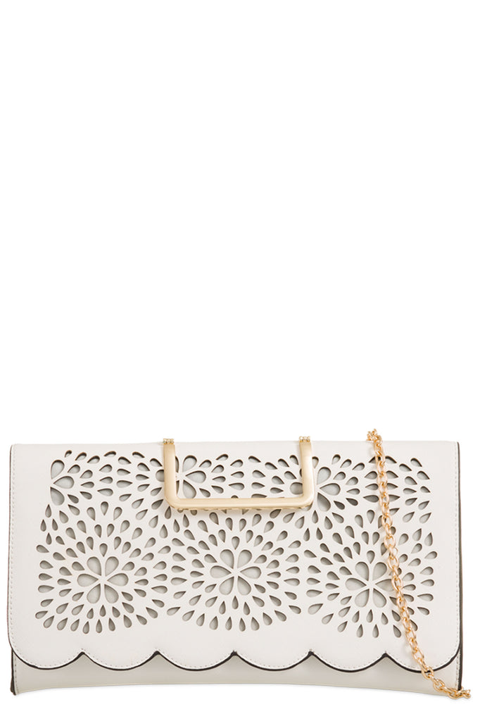 Toro White Leatherette Cut Out Clutch Bag (9563736784)