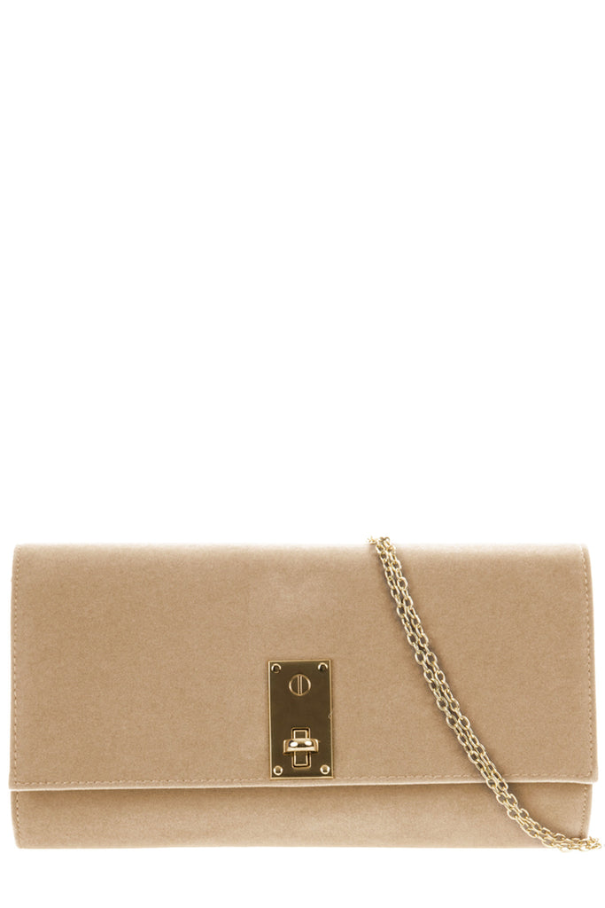 Tovolo Beige Velvet Clutch Bag