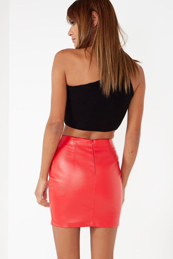 Toya Red Leatherette Button Skirt (1599731302466)