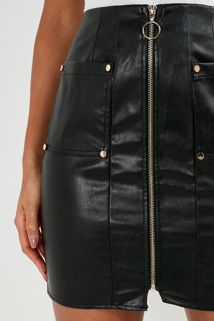 Trenny Black Leatherette Mini Skirt (1818640482370)