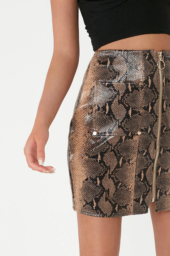 Trenny Snake Print Mini Skirt