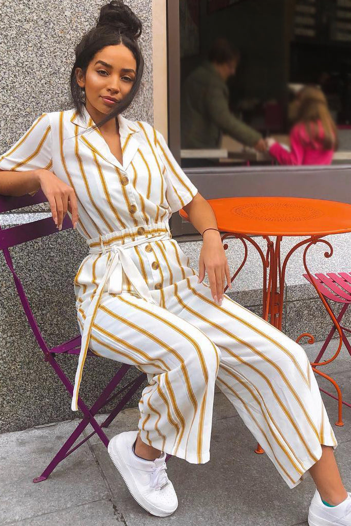 Hermoine Biscuit Striped Jumpsuit