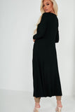 Trina Black Ribbed Longline Cardigan