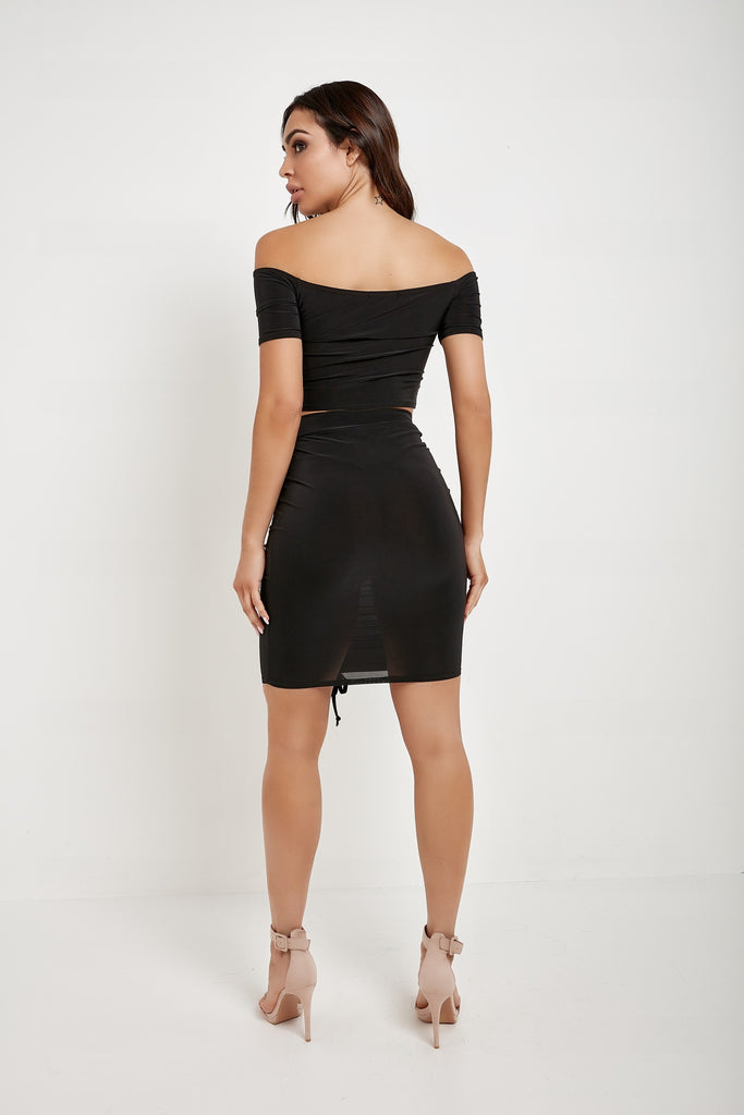 Triona Black Ruched Slinky Skirt Co Ord