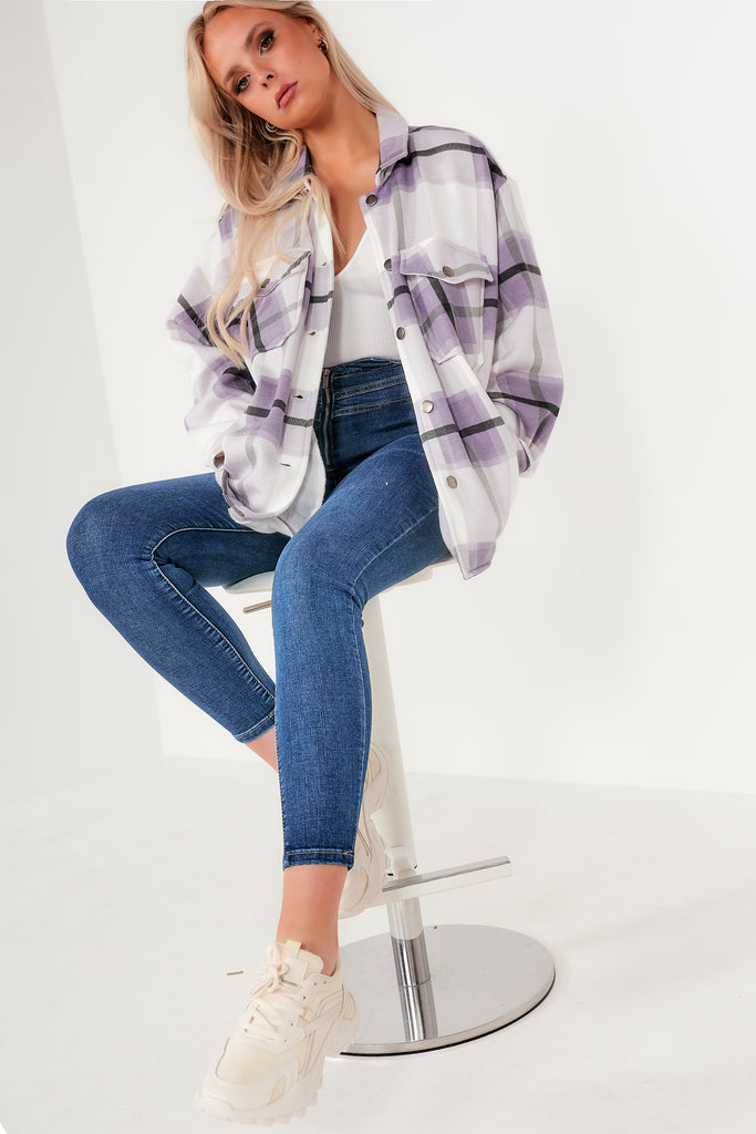 Trixibelle Lilac Check Oversized Shacket