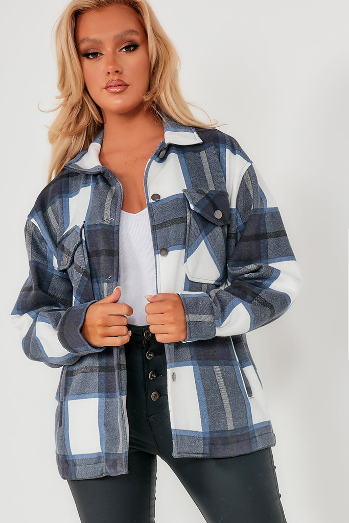 Trixibelle Navy Check Oversized Shacket