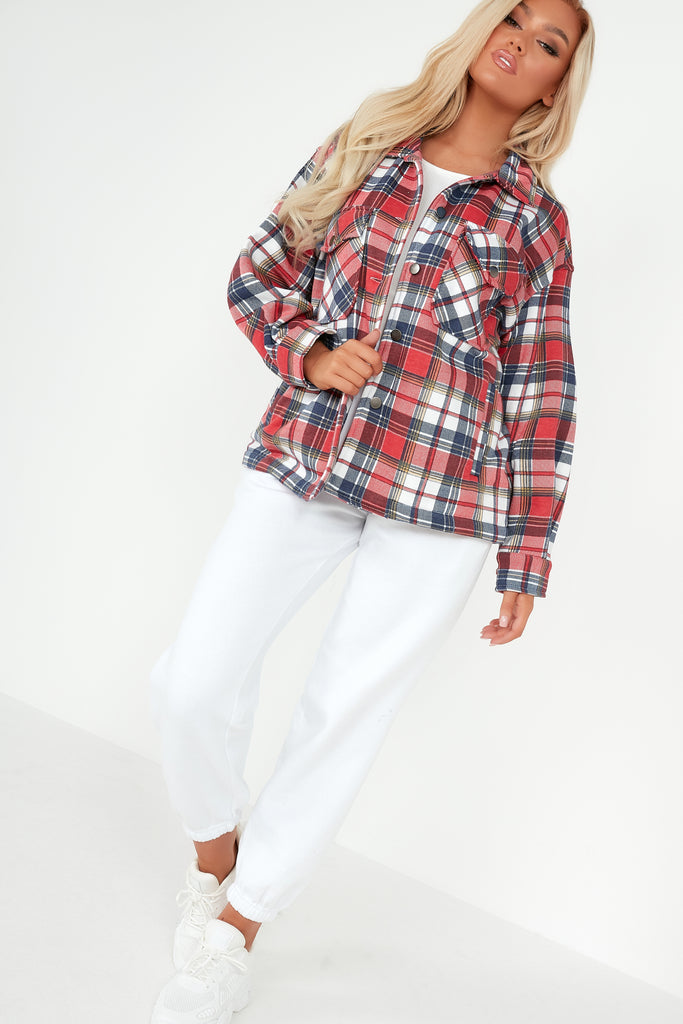 Trixibelle Red and Navy Check Oversized Shacket