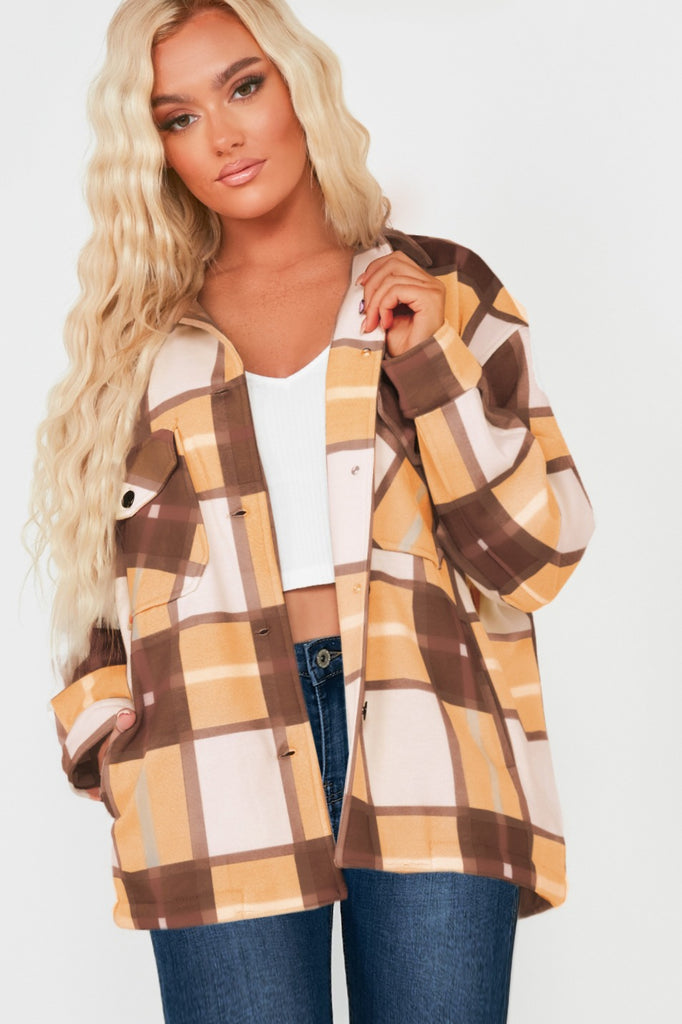 Trixibelle Tan Check Oversized Shacket