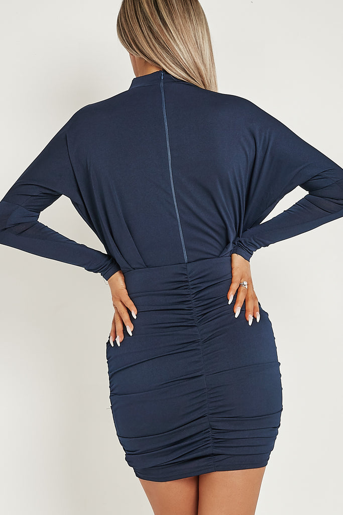 Trudy Navy Long Sleeve Ruched Bodycon Dress