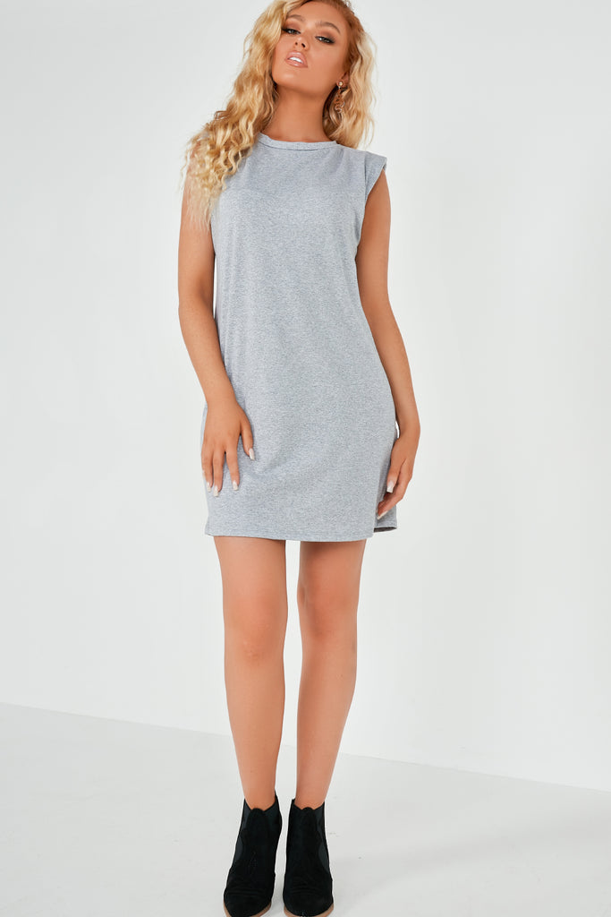 Tullie Grey Sleeveless Padded Shoulder T Shirt Dress