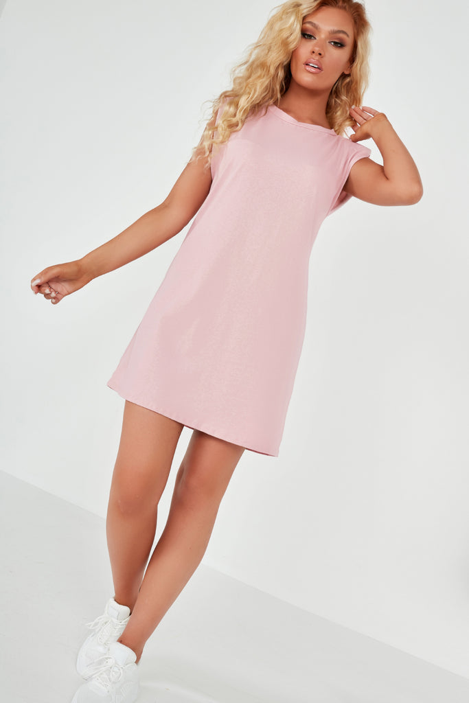 Tullie Pink Sleeveless Padded Shoulder T Shirt Dress