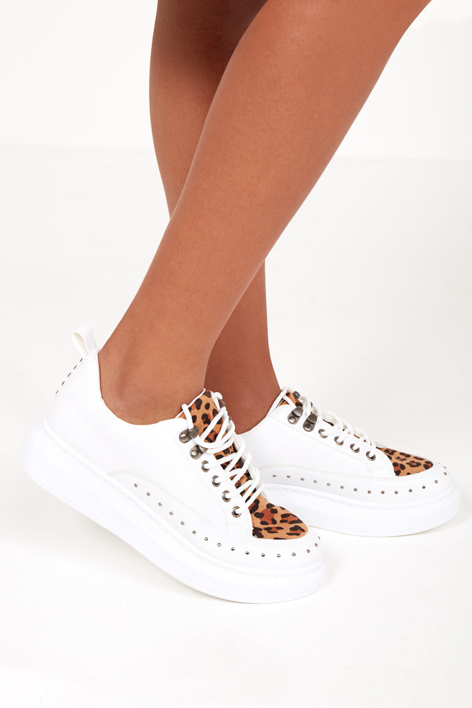 Tunkie White Leopard Chunky Sole Trainers