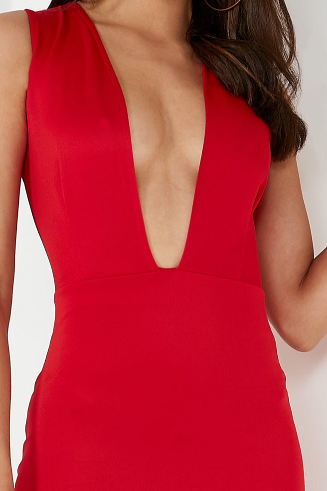 Turdy Red Plunge Mini Dress