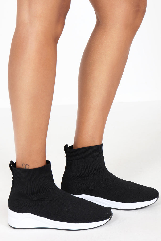 Tyisha Black Sock Knit Ankle Trainers