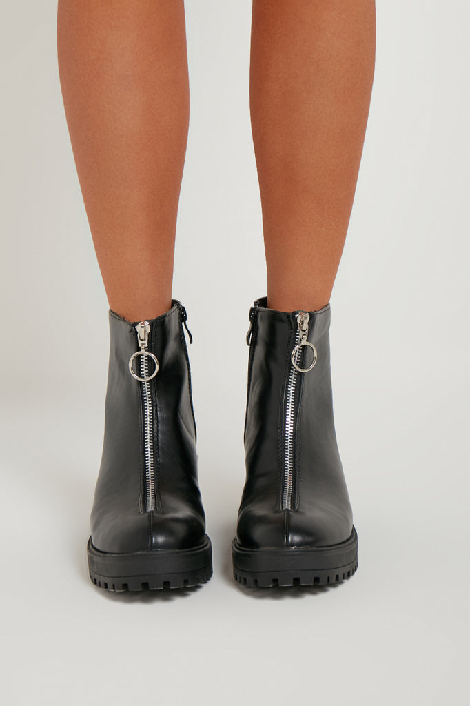 Tyra Black Chunky Zip Front Boots