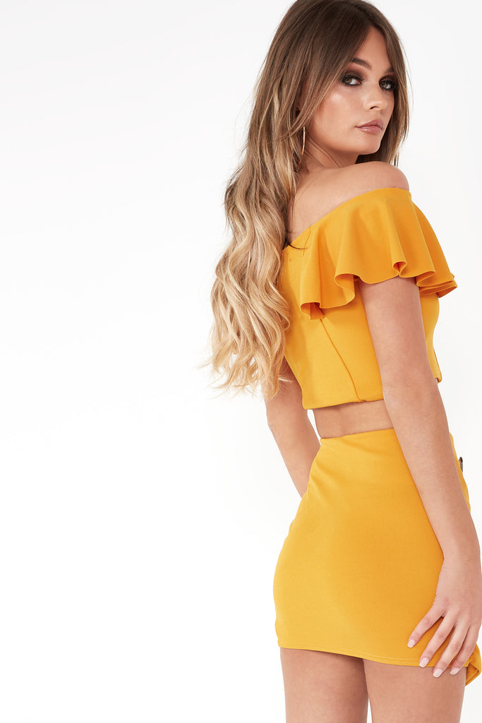 Ualda Mustard Button Detail Mini Skirt