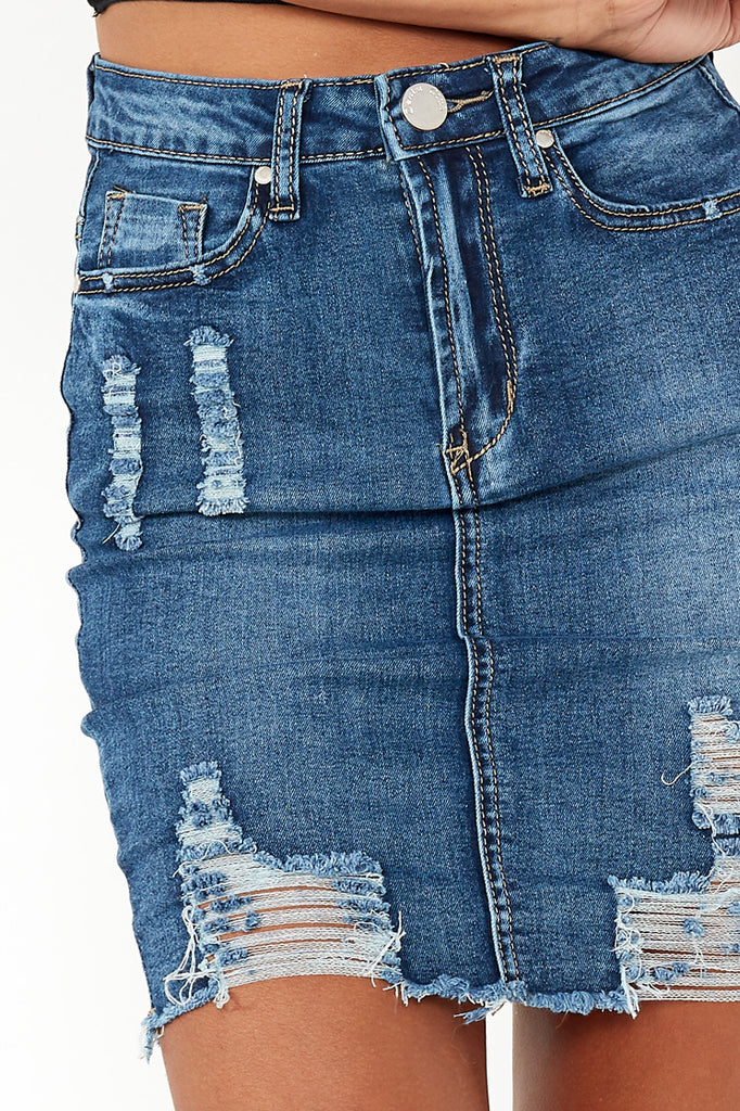 Udele Blue Distressed Denim Skirt (107185897488)
