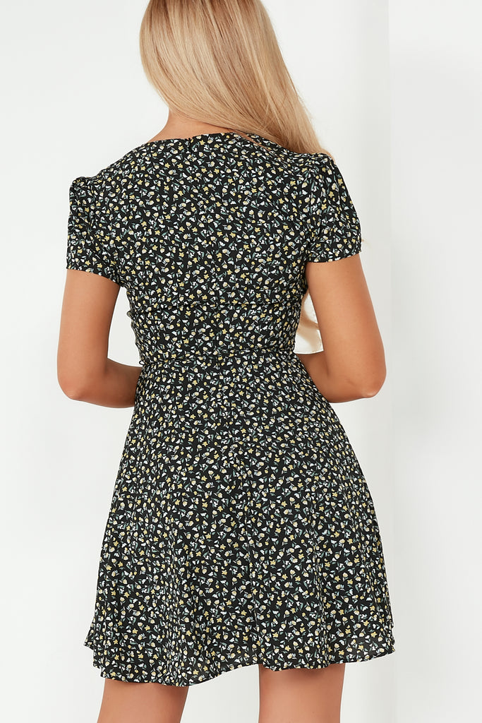 Ulissa Black Ditsy Floral Skater Dress