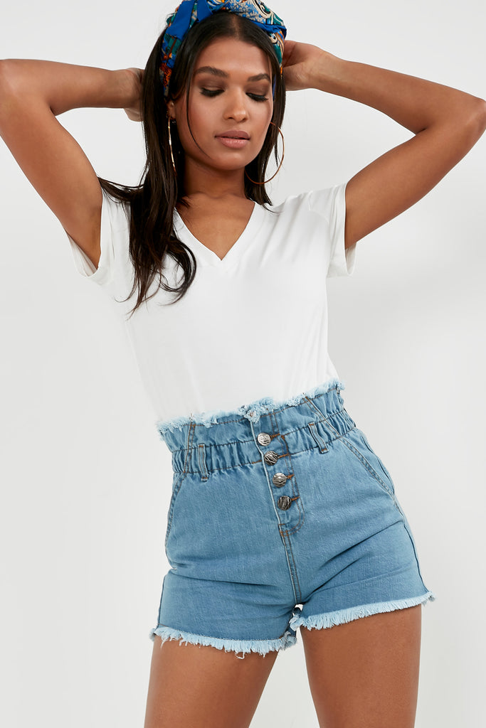 Ulka Light Denim Paperbag Shorts