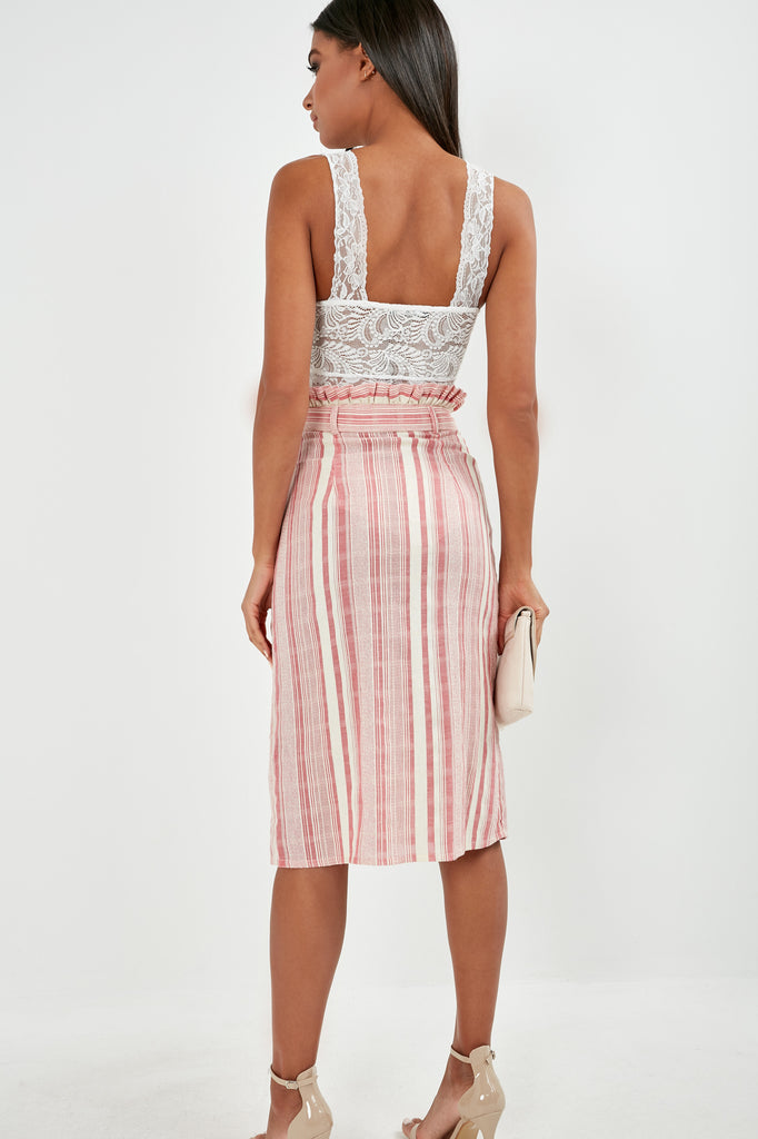 Ulla Pink Stripe Cotton Midi Skirt (1779240534082)