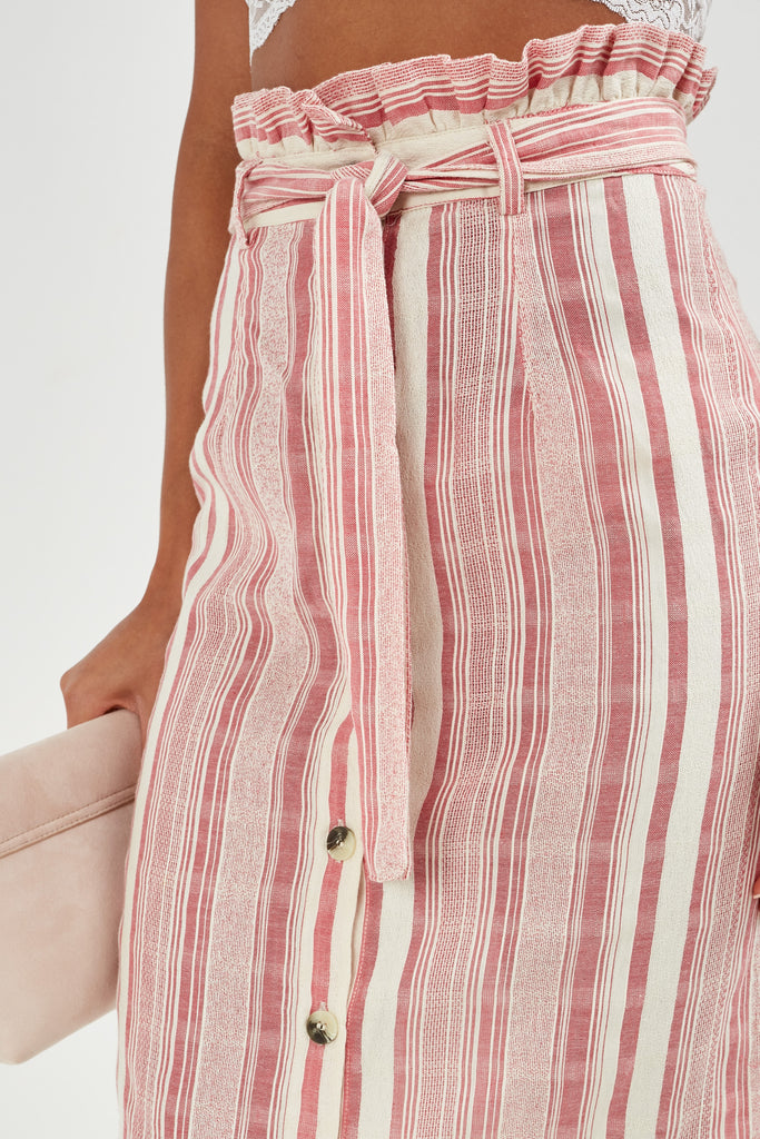 Ulla Pink Stripe Cotton Midi Skirt