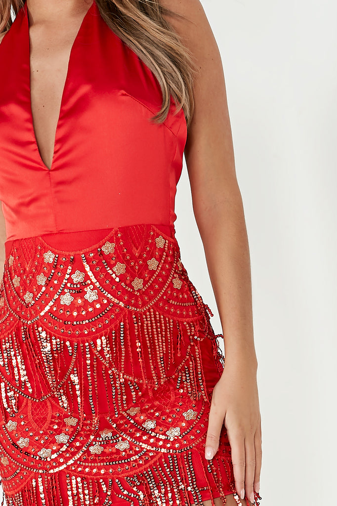 Ulrika Red Sequin Halterneck Dress
