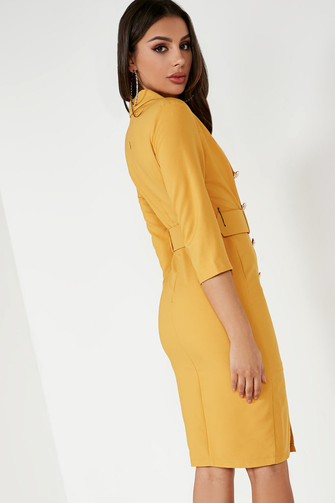 Umai Mustard Belted Blazer Dress