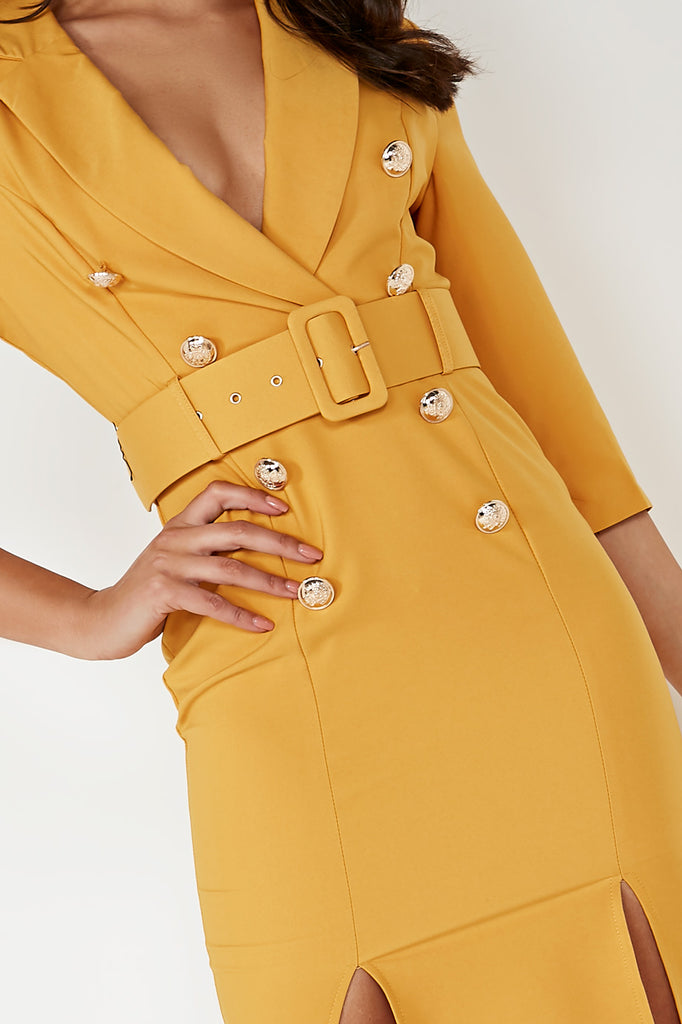 Umai Mustard Belted Blazer Dress (1631916261442)