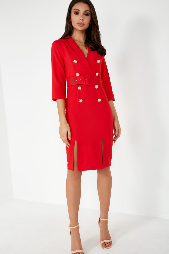 Umai Red Belted Blazer Dress (1631912788034)