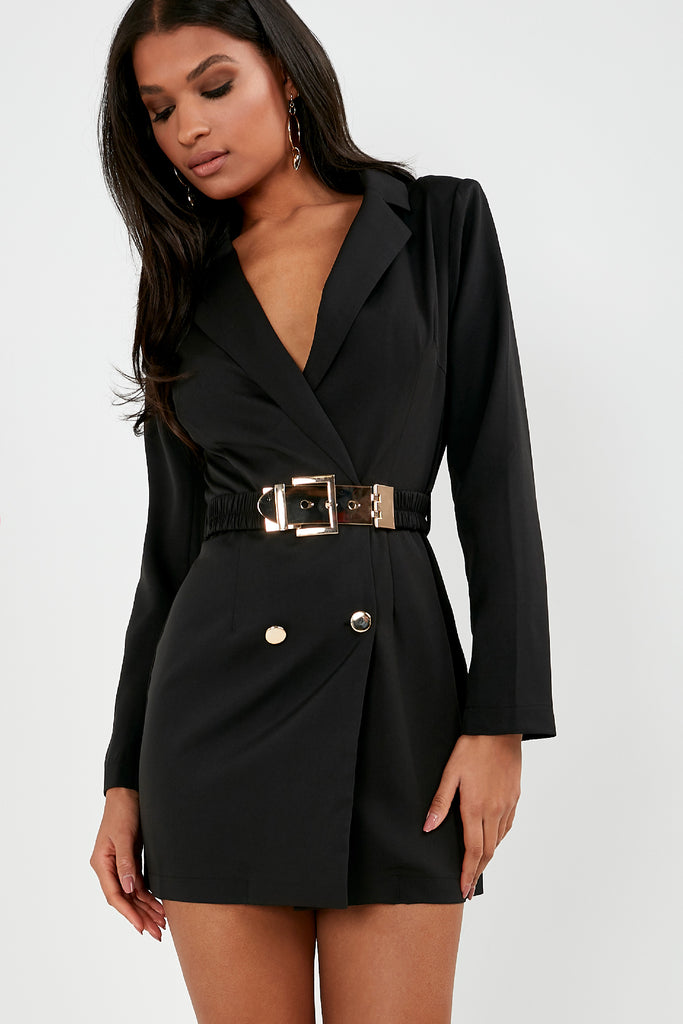 Unice Black Gold Button Blazer Dress